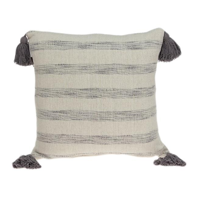 Parkland Collection PILE11167P Seema Beige & Grey Square Transitional Pillow Cover with Poly Insert - 18 x 18 x 7 in. - image 1 of 1
