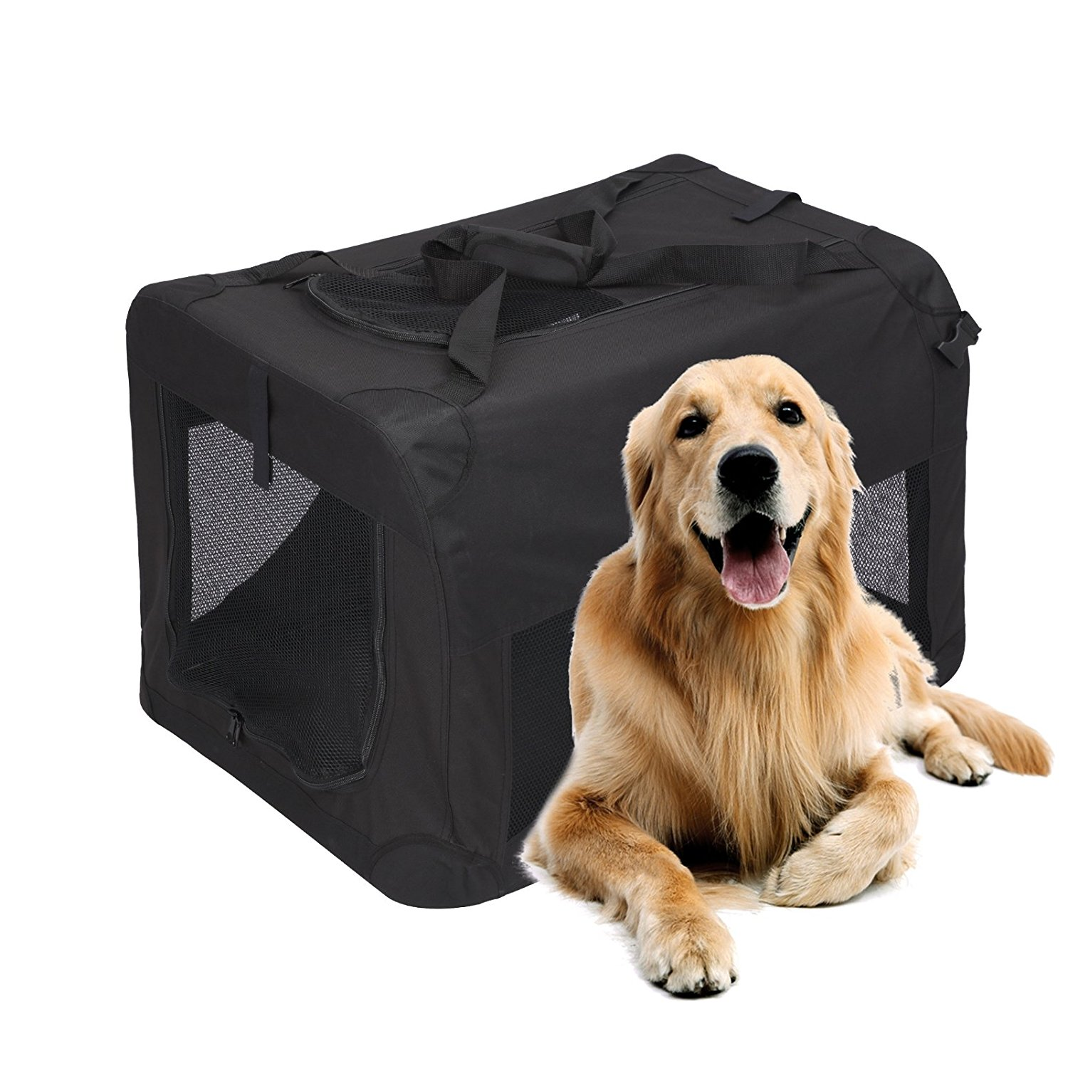 Magshion Portable Crates Kennels Fabric Transport With Sturdy Metal Frame Metal Cages 48'' Pink