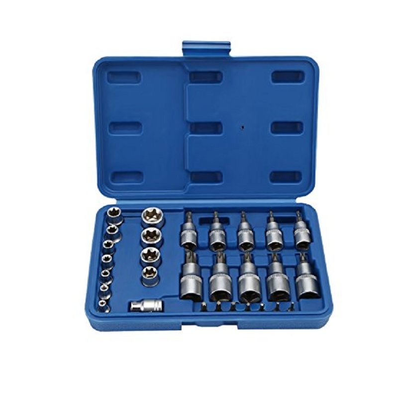VETOMILE 30Pcs Torx Bit Socket and External Torx Socket Set with Torx Bits and Holder,Star Socket and Bit Set Male and Female Torx Sockets E & T Socket Bits,S2 and Cr-V Steel