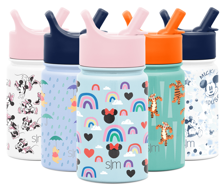 Dishwasher Safe Tumbler Travel Mug Flask Disney Simple Modern 12 Ounce Summit Kids Tritan Water Bottle with Sippy Cup Lid Minnie Rainbows