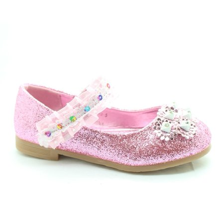 Little Girls Pink Glitter Lace Sequin Stone Adorned Dress Shoes](Pink Girls Shoes)