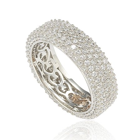 - Cubic Zirconia Sterling Silver Eternity Pave Ring