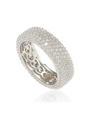 Cubic Zirconia Sterling Silver Eternity Pave Ring