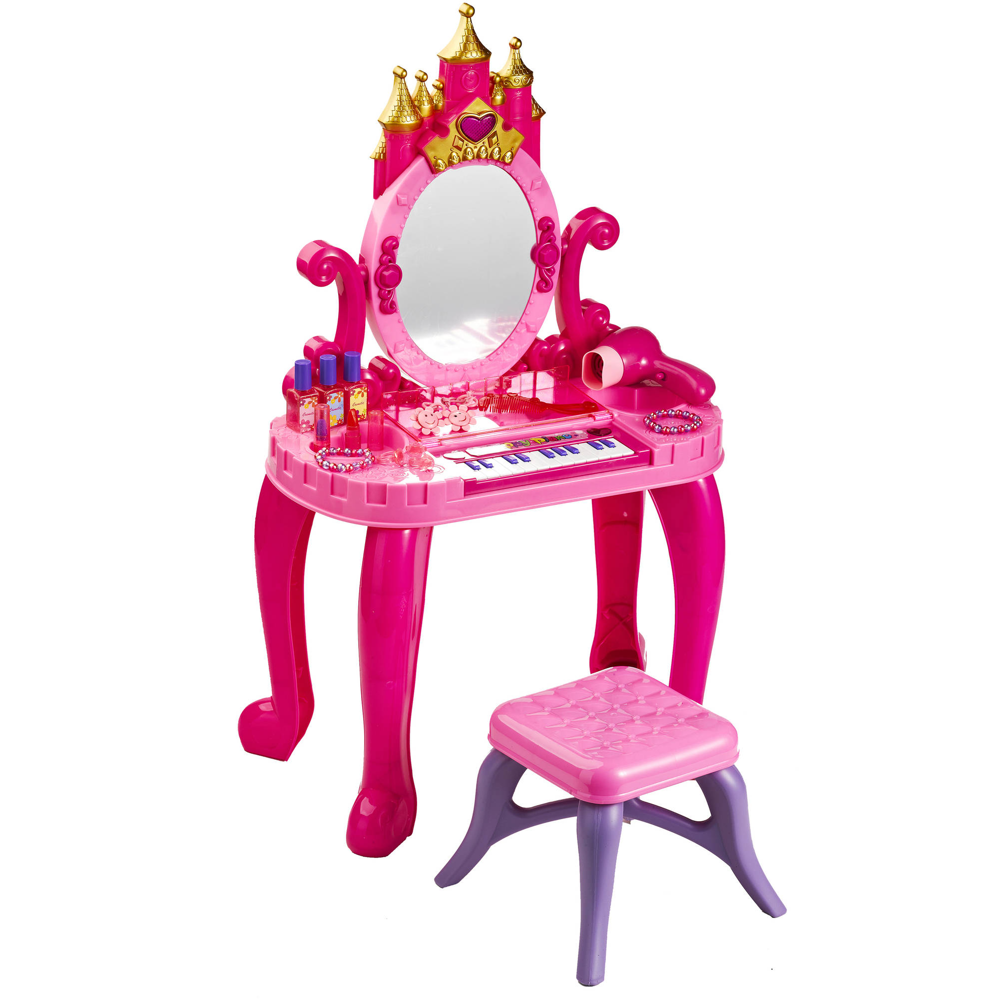 Girls vanity badger basket music and lights castle vanity with stool and accessories geotapseo Images