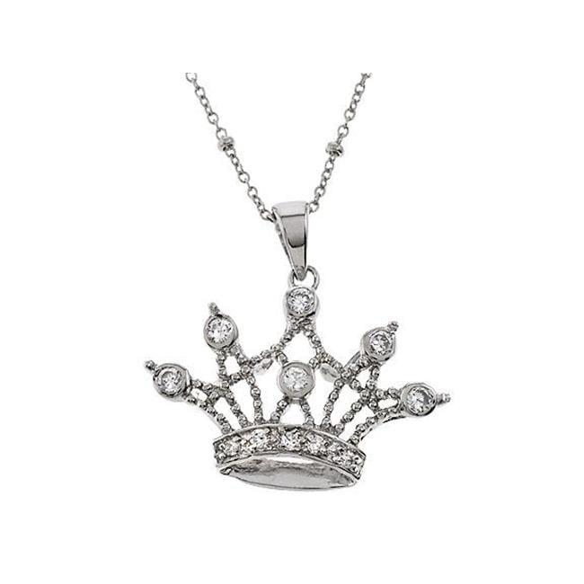 CZ PEN1601 Queen Crown Sterling Silver Cubic Zirconia Pendant Necklace