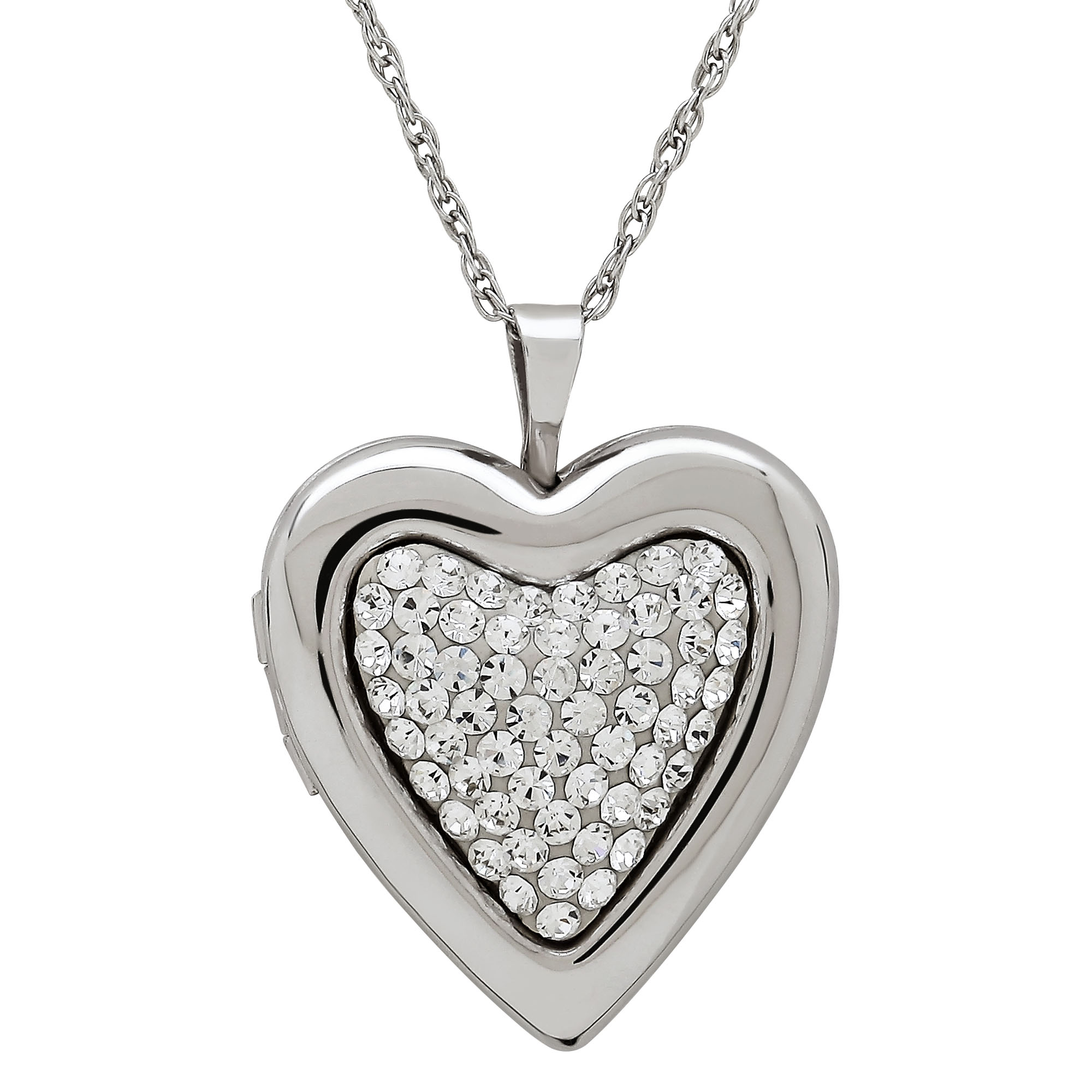 Sterling Silver Heart Locket with Clear Crystals Pendant