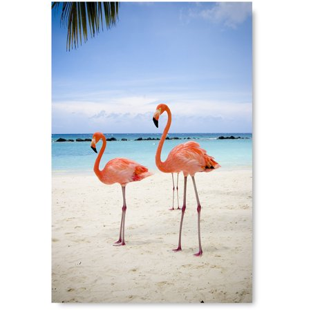 Awkward Styles Flamingo Room Wall Decor Flamingos Illustration Pink Wall Art Beach Decals Room Decor Sea Room Decorations Flamingo Poster Decor Ideas Unframed Art Picture Home Decor