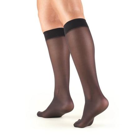 Women's Stockings, Knee High, Sheer: 8-15 mmHg, Black, Medium