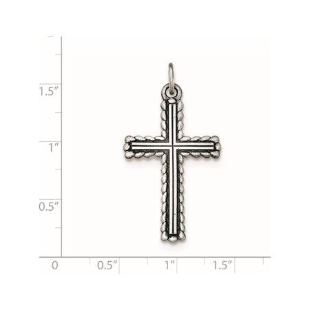 Argent 925 Antiqued, textur? et bross? croix latine pendentif / Charm - image 2 de 2
