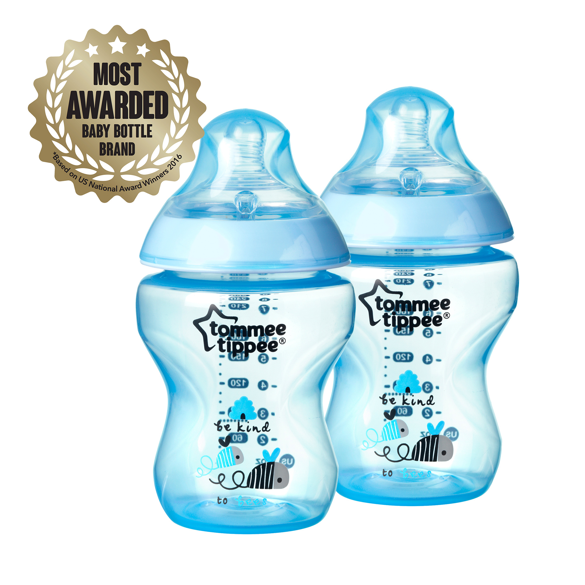 Tommee Tippee Closer to Nature 9-oz Decorated Baby Bottles, BPA-Free, Boy, 2 ct