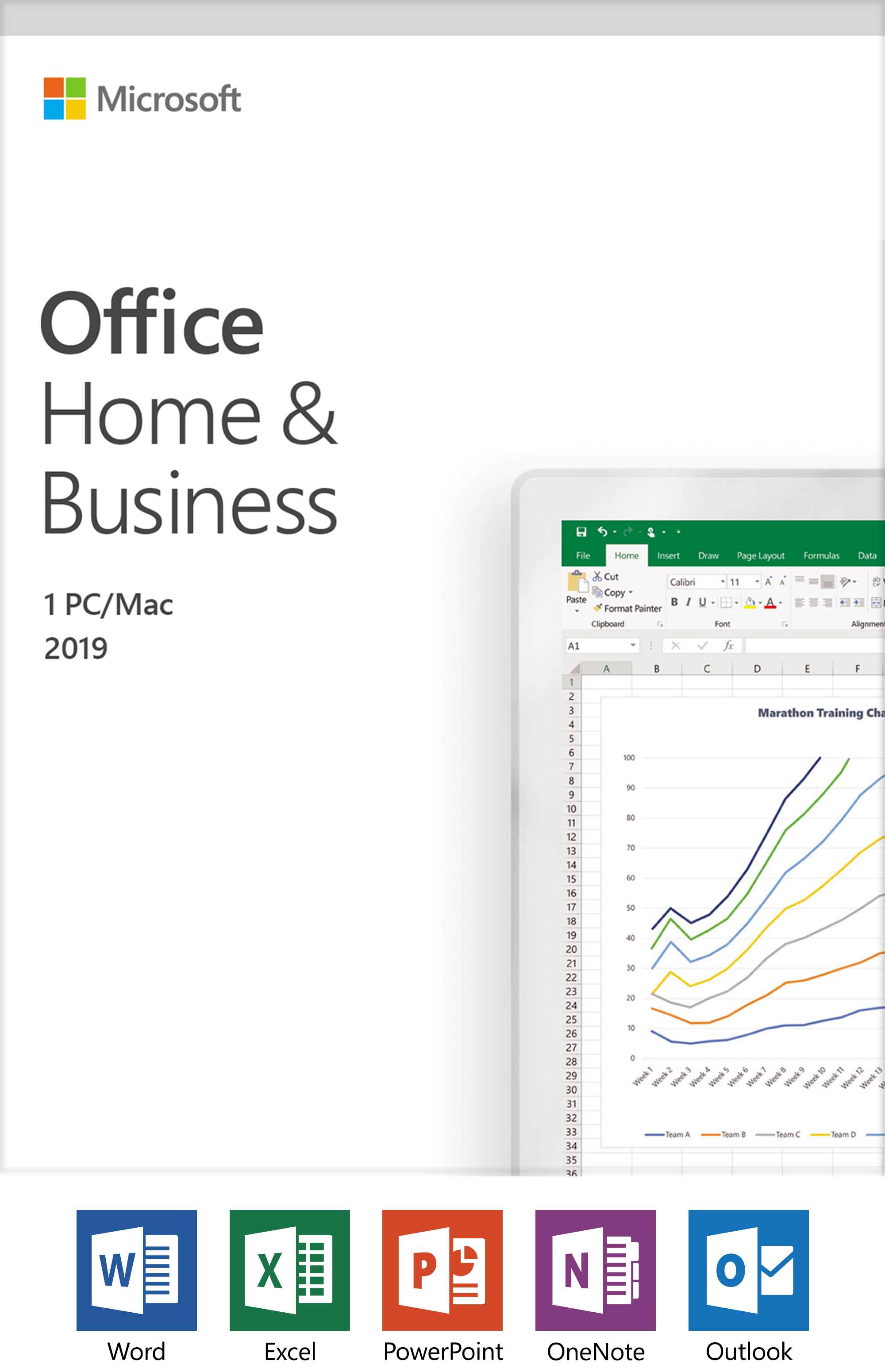 Microsoft Office Home and Business 2019 | 1 device, Windows 10 PC Mac Key Card by Microsoft