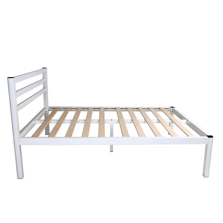 intelliBASE 18 Inch Wood Slat White Metal Platform Bed Frame w/ Headboard, Full ()