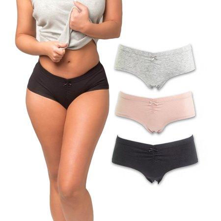 Emprella Women's Boyshort Panties Comfort Ultra-Soft Cotton Underwear (3-Pack)