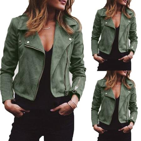 Women Ladies Suede Leather Jacket Flight Coat Zip Up Biker Casual Tops Clothes Army Green