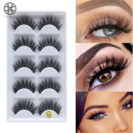 Luxtrada 5 Pair 3D Reusable Black Real Mink Natural Cross Long Thick Eye Lashes False Eyelashes Best for Women
