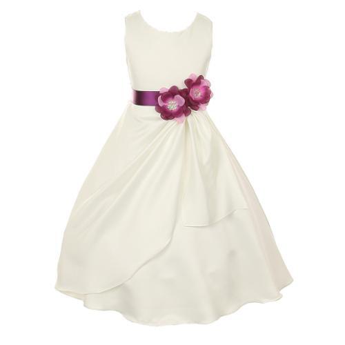 Big Girls Ivory Plum Bridal Dull Satin Sequin Flowers Occ...