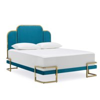 MoDRN Glam Marni Upholstered Platform Bed, Queen in Dark Teal