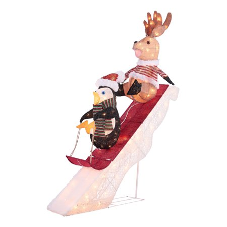 Holiday Time Light-up Sledding Reindeer and Penguin Decoration, 52