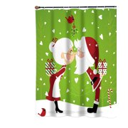 """""""Kissing Claus' """" Fabric Shower Curtain"""