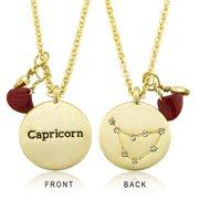 18k Goldplated Zodiac Sign Crystal Constellation and Garnet Quartz Birthstone Necklace Cancer