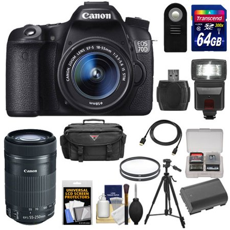 canon eos 70d digital slr camera ef s 18 55mm is with 55. Black Bedroom Furniture Sets. Home Design Ideas