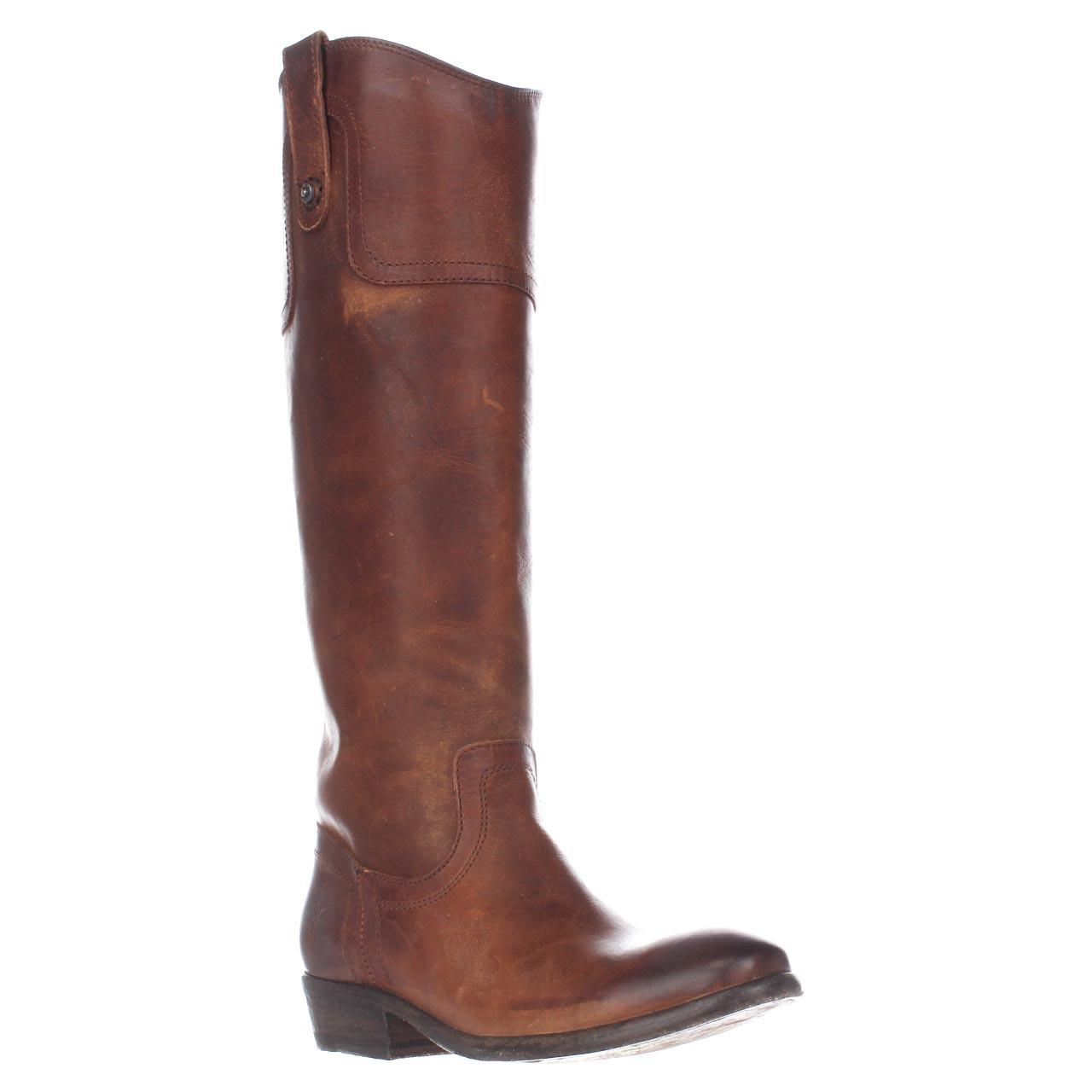 Womens FRYE Carson Riding Button Western Tall Boots - Cognac
