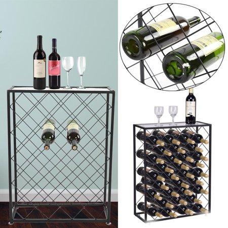 Wine Storage Rack,Ymiko 32 Bottles Wine Storage Rack Floor Bottle Holder Glass Table Top Black Display Liquor Cabinet](Liquor Store Tulsa)