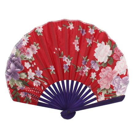 Japanese Fans (Unique Bargains Seashell Shape Flower Pattern Japanese Style Folding Hand Fan)