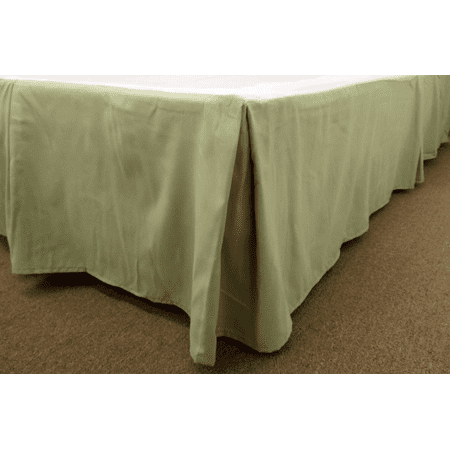 qutain linen tailored bed skirt dust ruffle solid sage green full size. Black Bedroom Furniture Sets. Home Design Ideas