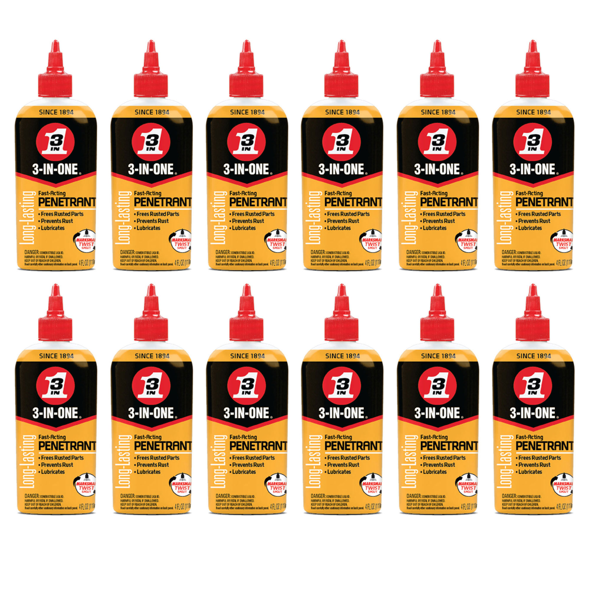 3-IN-ONE 120015 Penetrant Drip Oil to Loosen and Stop Rust, 4 Ounces (12 Pack)