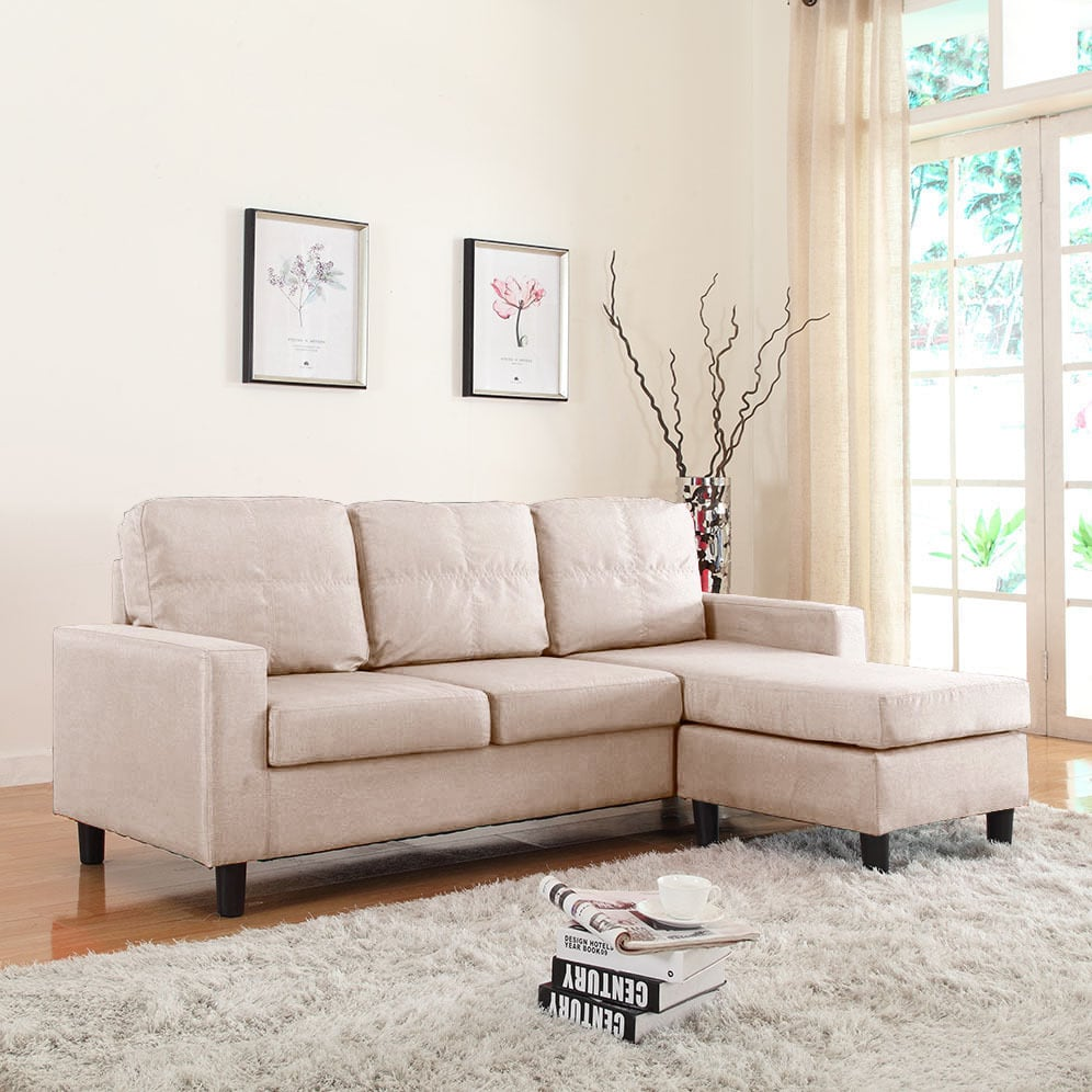 Madison Home Small Space Linen Fabric Sectional Sofa with Reversible Chaise