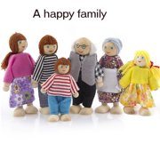 6PCS Wooden Furniture Dolls House Family Miniature Set Doll Toy For Kid Child