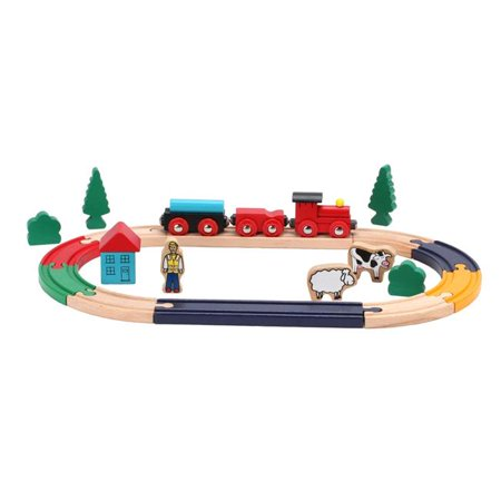 Omni Wooden Toys Wooden Train Set, 23 Piece (Imaginarium Spiral Train Set 55 Pieces Instructions)