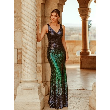 Ever-Pretty Women's Sexy V-Neck Sequins Long Formal Evening Ball Gown Wedding Guest Dresses for Women 07345 US 4