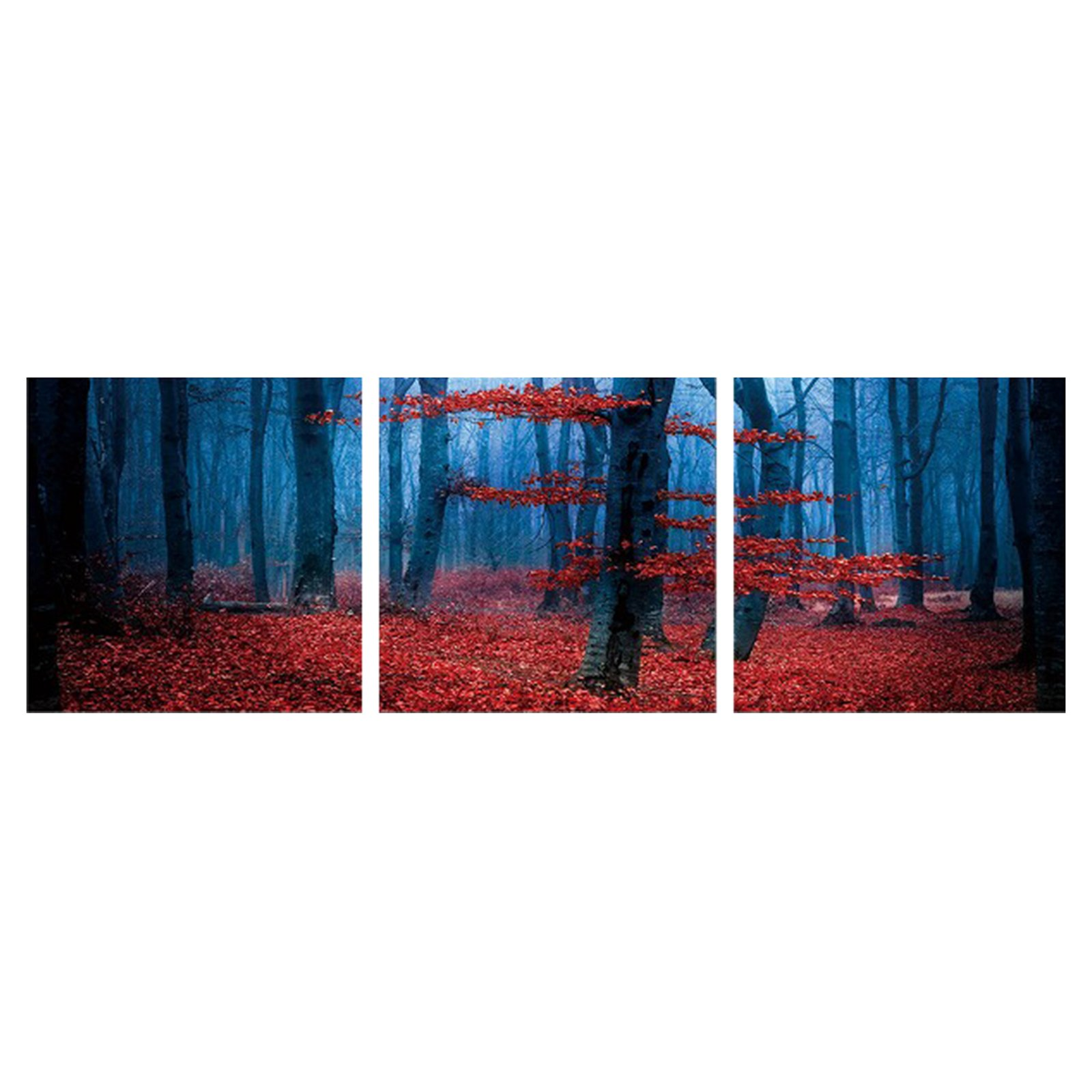 Furinno SeniA Enchanted Forest 3-Panel MDF Framed Photography Triptych Print, 48 x 16-in