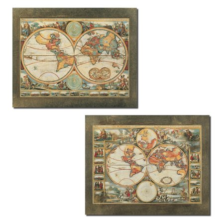 - Old World View I Ancient Continental Map Set; Two 14x11 Poster Prints