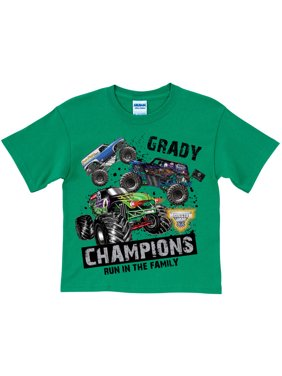 Personalized Monster Jam Digger Family Boys' T-Shirt, Green