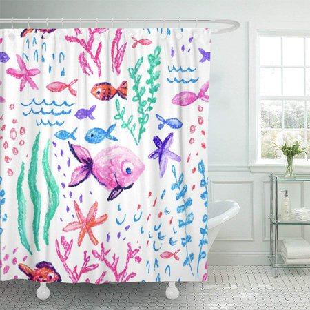 BSDHOME Crayon Childlike Marin Underwater Sea Ocean Life Childish Drawing Cute Whale Fishes Starfish Corals Shower Curtain 60x72 inch - image 1 of 1