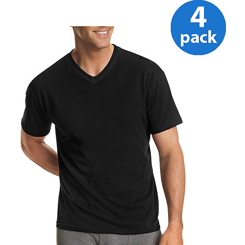 Hanes Men's FreshIQ ComfortSoft Dyed V-Neck T-Shirt 4-Pack ...