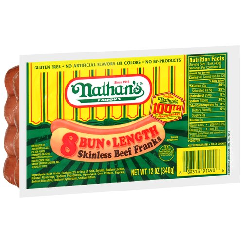 Nathan's Famous Bun-Length Skinless Beef Franks, 8 count, 12 oz