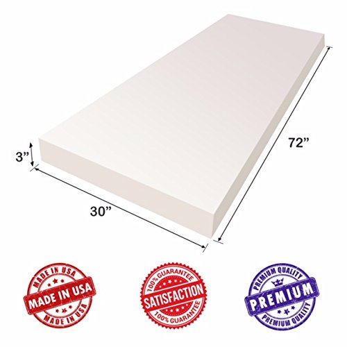 """Upholstery Foam Cushion Sheet (3""""x30""""x72"""") -Regular Density Support-Premium Luxury Quality- Good for Sofa Cushion, Mattresses, Wheelchair, Poker Table, and Much More- by Dream Solutions USA"""
