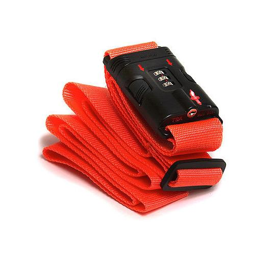 Safe Skies  Orange TSA-recognized Locking Luggage Strap with Bonus Luggage Tag