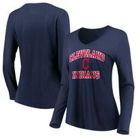 Women's Majestic Navy Cleveland Indians Heart & Soul Long Sleeve V-Neck T-Shirt