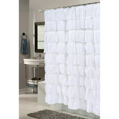 """""""Carmen"""" Polyester Shower Curtain in White"""