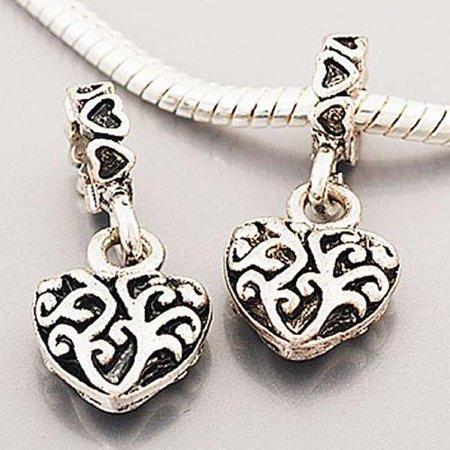 One Beautiful Heart Dangle Bead Charm Spacer For Snake Chain Charm Bracelet