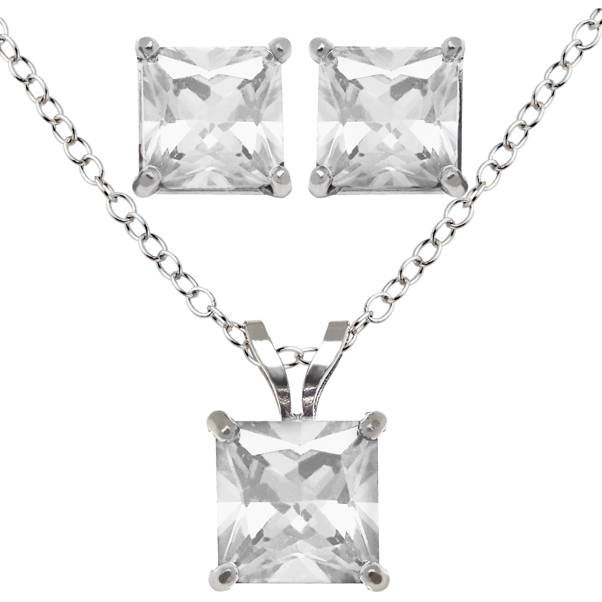 Princess-Cut Cubic Zirconia Sterling Silver Pendant and Earring Set, 18""