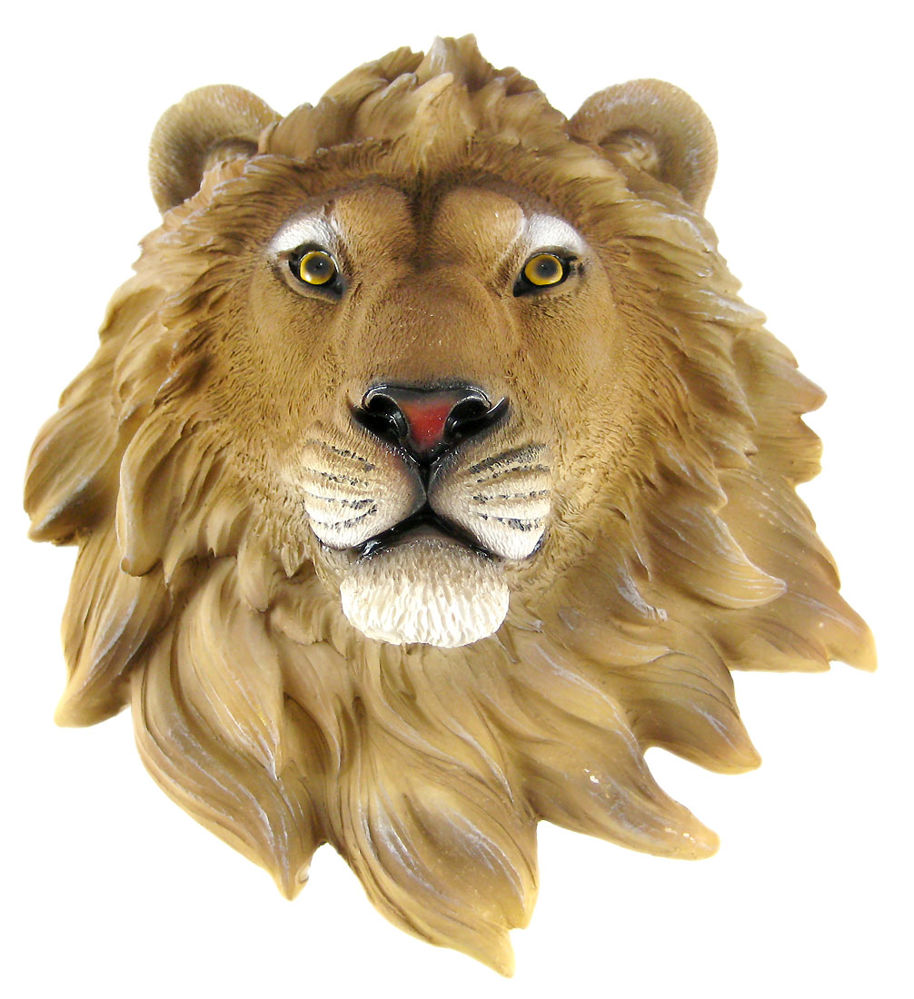African Lion Head Mount Wall Statue Mini Bust Leo 9.5 In. by DWK Corporation