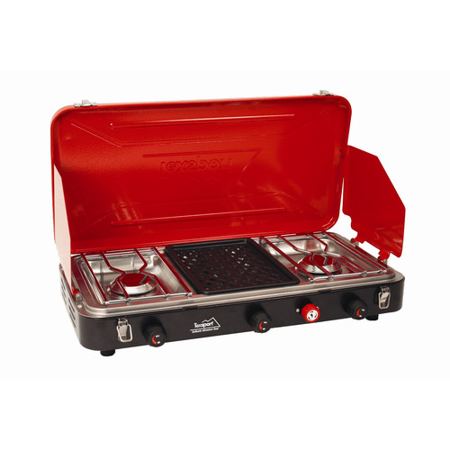 Texsport Vulcan Series Carlisle Insta-Light Hi Output Portable 2-Burner Propane Grill and Stove Combo