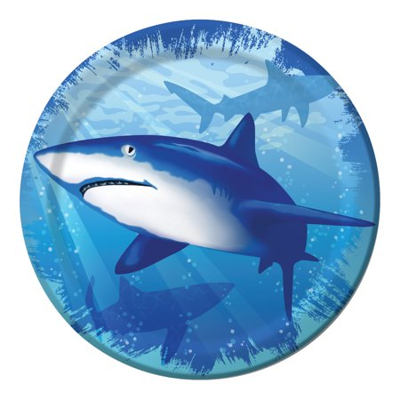 Club Pack of 96 Shark Splash Disposable Paper Party Lunch Plates 7