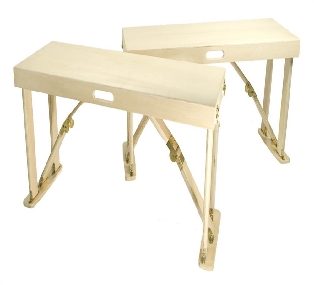 Portable Folding Bench In Natural Birch Finish   Set Of 2